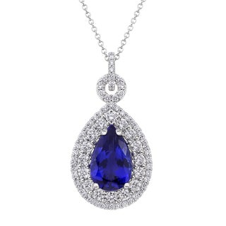 18k White Gold 1 5/8ct TDW Tanzanite and White Diamond Pendant (G-H, SI)