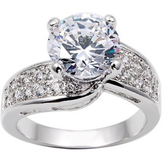 Simon Frank 3ct TDW Cubic Zirconia Beautiful Light Collection Bridal Ring