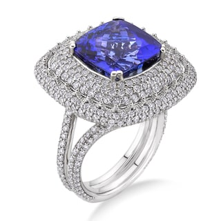 18k White Gold 2 7/8ct TDW Tanzanite and White Diamond Bridal Ring (G-H, SI)