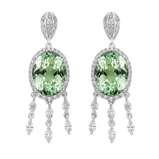 18k White Gold 1ct TDW Mint Tourmaline and White Diamond Earrings (G-H, SI)