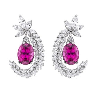 18k White Gold 5ct TDW Rubelite and White Diamond Earrings (G-H, SI)