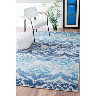 nuLOOM Hand Knotted Vintage Wool/ Viscose Ikat Rug (5' x 8')