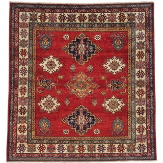 Hand-knotted Tribal Design Square Super Kazak Oriental Rug (6' x 6'4)