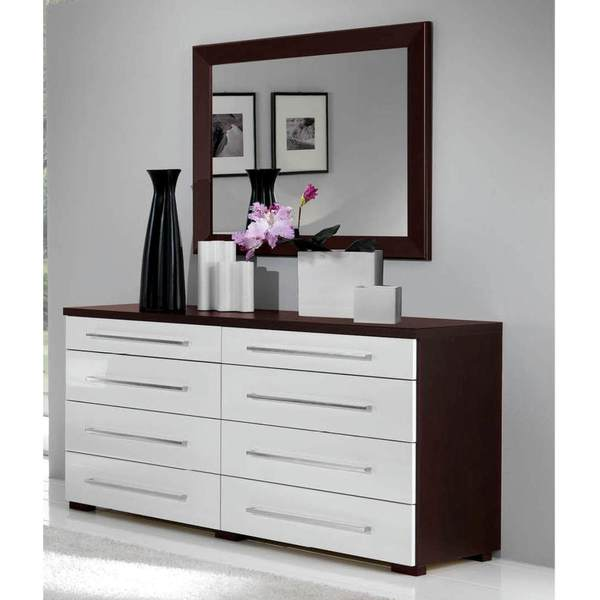 Luca Home Wenge White Double Dresser With Mirror Overstock 10203313