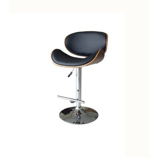Luca Home PU Leather Walnut Adjustable Swivel Barstool