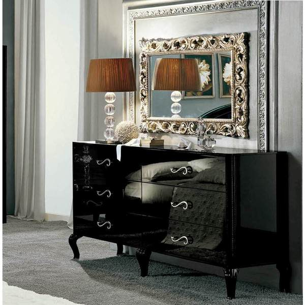 Luca Home Contemporary Black Dresser and Mirror - Free Shipping ...