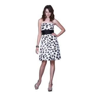 Women's Strapless Black Sequin Polka Dot Cocktail Dress