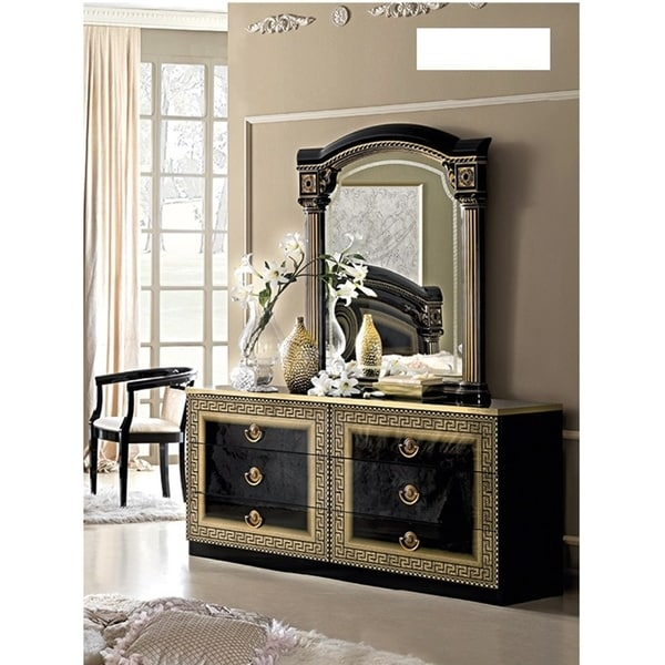 Luca Home Black Gold Dresser And Mirror