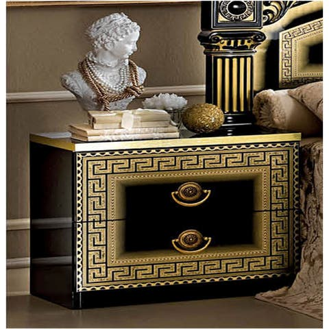 Luca Home Black/ Gold Nightstand
