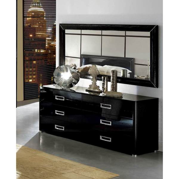 Luca Home Black Dresser and Mirror - Free Shipping Today ...