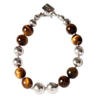 Handmade Silver 'Coffee Bean' Tiger's Eye Bracelet (Peru)