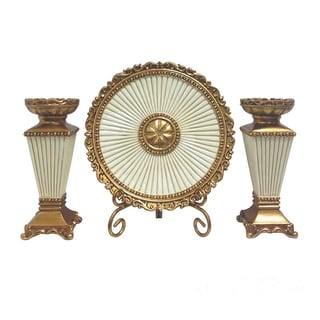D'Lusso Designs Desiree Collection Four Piece Charger, Stand And Two Candlestick Set
