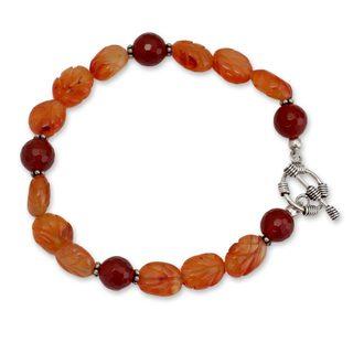 Handmade Sterling Silver 'Sunset Forest' Carnelian Bracelet (India)