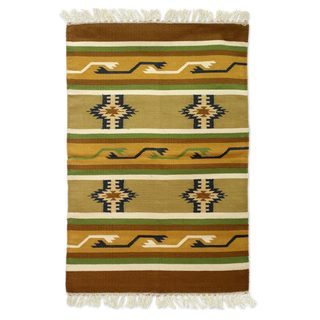 Handcrafted Cotton 'Sunset Earth' Rug (India) - 2x3