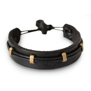 Men's Leather Brass 'Stand Alone in Black' Bracelet (Ghana)