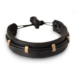 Handmade Men's Leather Brass 'Stand Alone in Black' Bracelet (Ghana)