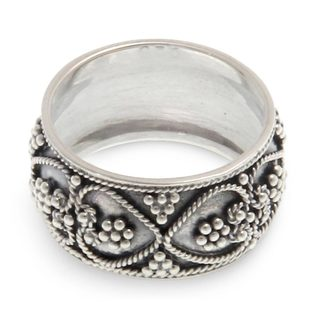 Handmade Sterling Silver Hearts Entwined Ring Indonesia