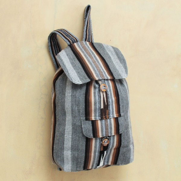 Novica Alpaca blend backpack, Boho Stripes - Handcrafted Peruvian Alpaca Backpack