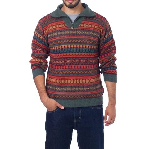 Handmade Men's Alpaca 'Mountain Sunset' Sweater (Peru)
