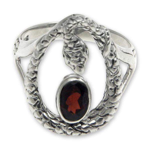 648994ca1565c2 Handmade Sterling Silver Rainforest Goddess Garnet Ring (Indonesia)