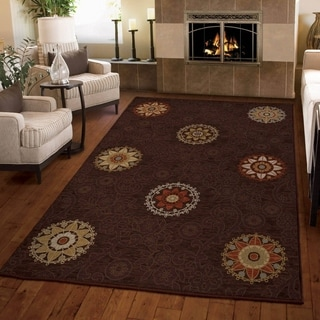 Carolina Weavers Harmony Collection Aracadia Brown Area Rug (3'11 x 5'5)