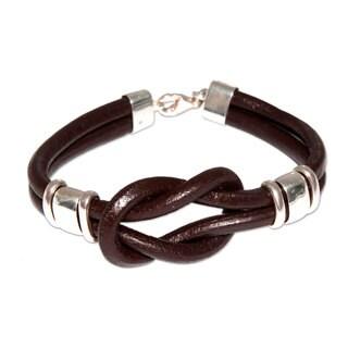 Handmade Sterling Silver Leather 'Twin Brown Knots' Bracelet (Peru)