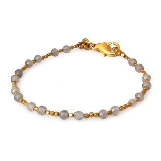 Handcrafted Gold Overlay 'Grey Divine Deva' Agate Bracelet (Thailand)