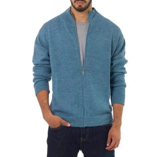 Modern Sky Handsome Artisan Designer Handmade Men's Clothing Turquoise Blue Pure Alpaca Wool Zip Front Sweater Cardigan (Peru)
