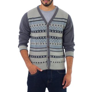 Handmade Men's Alpaca 'Infinite Traveler' Cardigan (Peru)