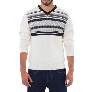 Handmade Men's Alpaca 'Tireless Wanderer' Pullover Sweater (Peru)