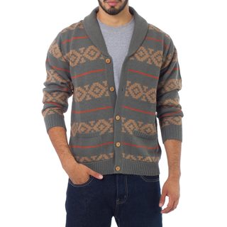 Handmade Men's Alpaca 'Chakana Traveler' Cardigan (Peru) (Option: Xl)