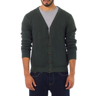Handmade Men's Cotton 'Forest Fern' Cardigan (Peru)