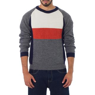 Men's Alpaca 'Gray Color Block' Sweater (Peru)