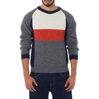 Handmade Men's Alpaca 'Gray Color Block' Sweater (Peru)
