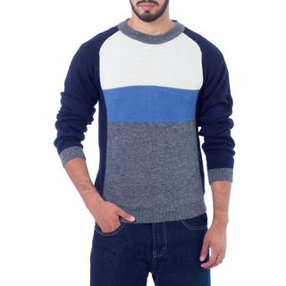 Men's Alpaca 'Marine Color Block' Sweater (Peru)