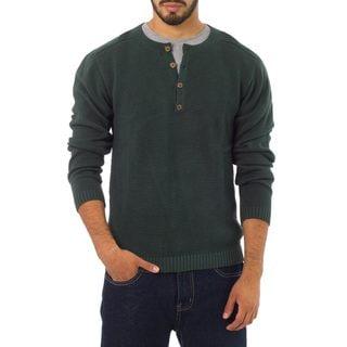 Handmade Men's Cotton 'Deep Forest' Henley Sweater (Peru)