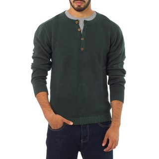 Handmade Men's Cotton 'Deep Forest' Henley Sweater (Peru)