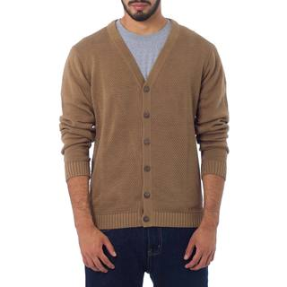 Handmade Men's Cotton 'Desert Sand' Cardigan (Peru)