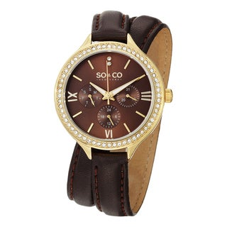 SO&CO New York Women's Madison Quartz Austrian Crystal Leather Strap Watch