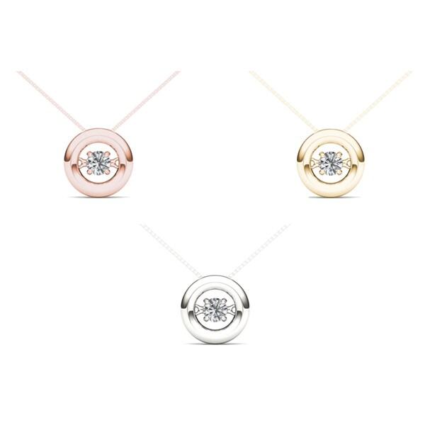De Couer IGI Certified 10k Gold 1/10ct TDW Diamond Heart Beat Necklace