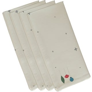 White Stars and Ornaments Holiday Print Decorative 19-inch Table Top Napkin