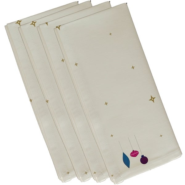 White Stars and Ornaments Holiday Decorative 19-inch Table Top Napkin