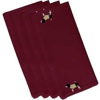 Red Dog Holiday Print Decorative 19-inch Table Top Napkin