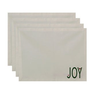 White 'Joy' Decorative Holiday Table Top Placemat (Set of 4)