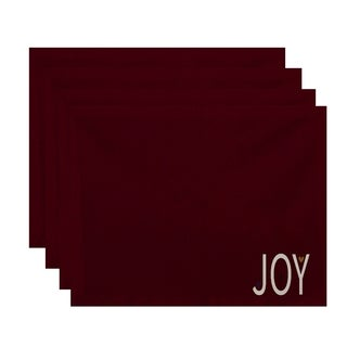 Red 'Joy' Word Print Decorative Holiday Table Top Placemat (Set of 4)
