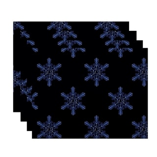 Snowflake Print Decorative Holiday Table Top Placemat (Set of 4)