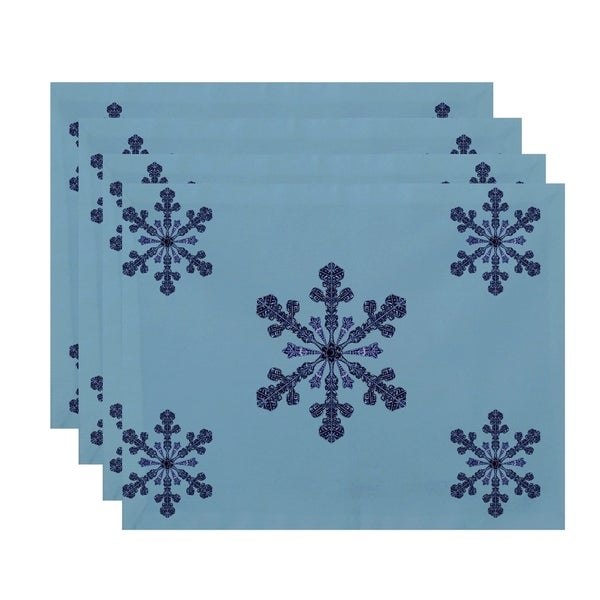 Snowflake Print Decorative Table Top Placemat (Set of 4)