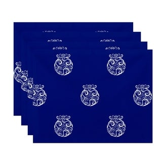 Ornament Swirl Print Decorative Holiday Table Top Placemat (Set of 4)