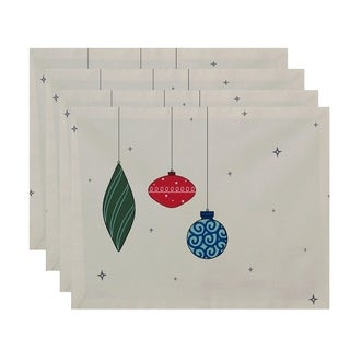 White Print Decorative Ornaments Holiday Table Top Placemat (Set of 4)