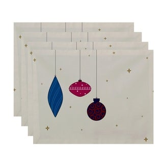 White Print Decorative Holiday Ornaments Table Top Placemat (Set of 4)